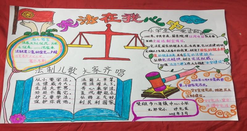 """小学党支部举办""""宪法在我心中""""手抄报制作活动 为了弘扬宪法精神,宣传"""